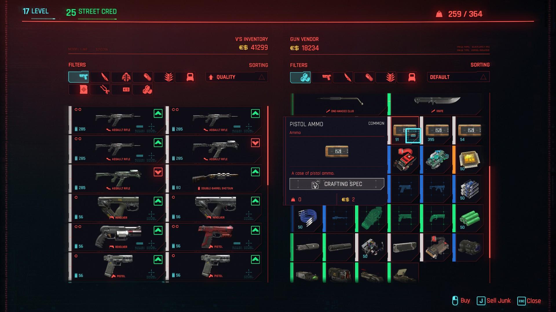 Cyberpunk 2077 Buying Ammo