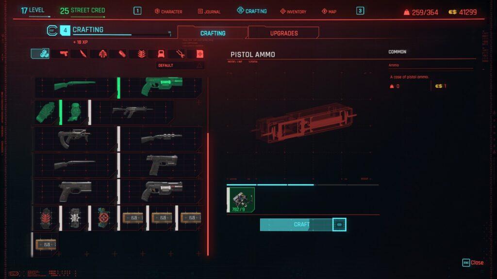 Crafting Ammo Cyberpunk 2077