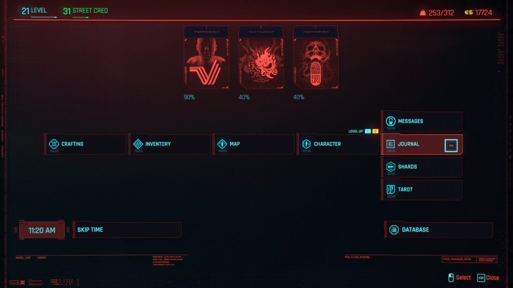 Cyberpunk 2077 Selecting Shards Menu