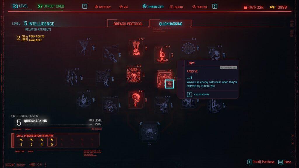 Cyberpunk 2077 Overheating I Spy Perk