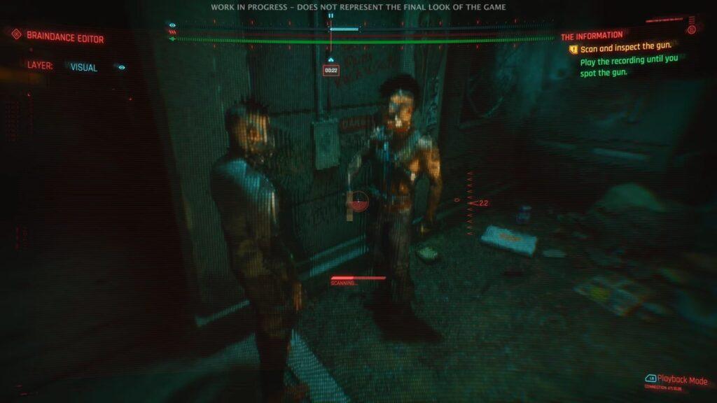 Cyberpunk 2077 Braindance Editor Footage Scanning Weapon Thugs