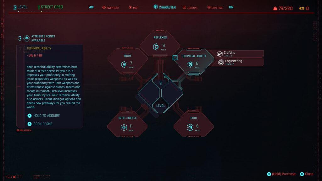 Cyberpunk 2077 Character Attributes Interface