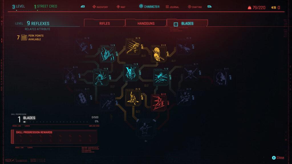 Cyberpunk 2077 Character Perks Guide Interface