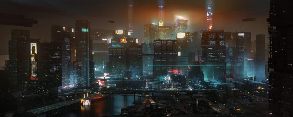 Cyberpunk 2077 City Center Panorama