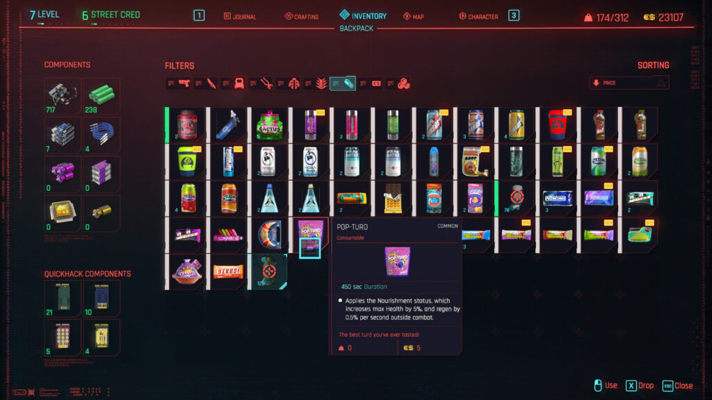 Cyberpunk 2077 Combat Strategy Consumables Boosters