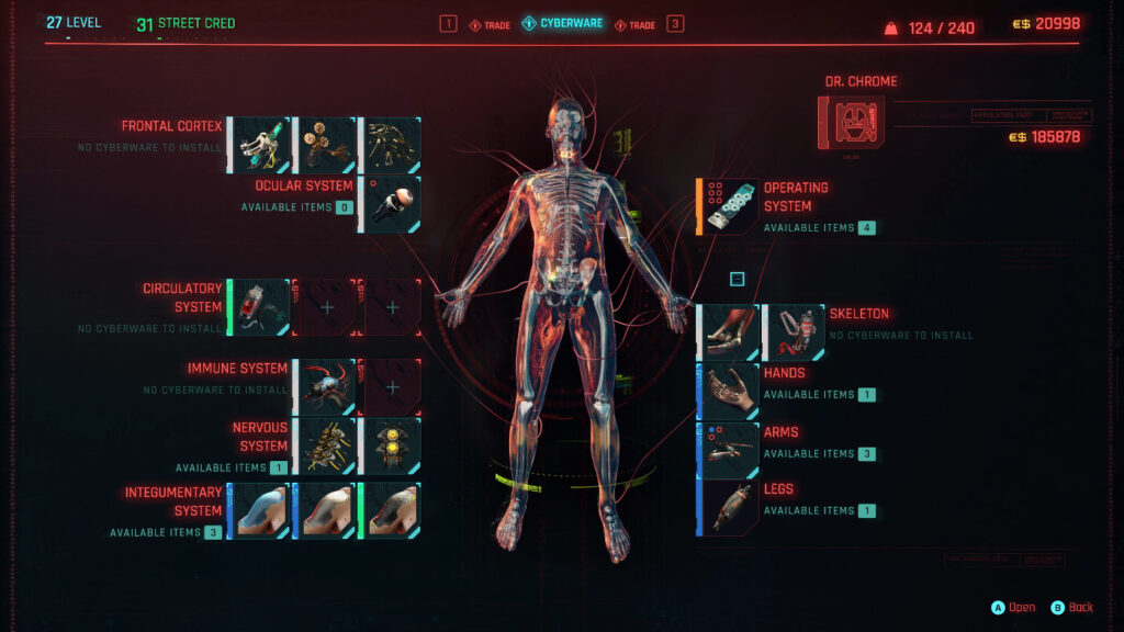 Cyberpunk 2077 Cyberware Guide Interface