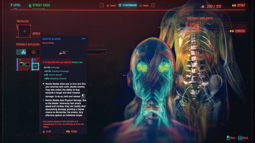 Cyberpunk 2077 Cyberware Implants Guide Arms