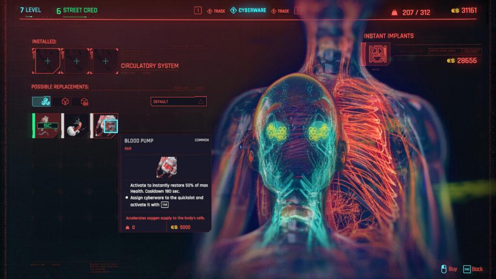 Cyberpunk 2077 Cyberware Implants Guide Circulatory System