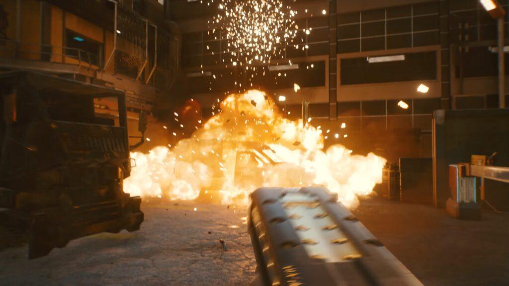 Cyberpunk 2077 Explosive Gun Shot Car Blown Up