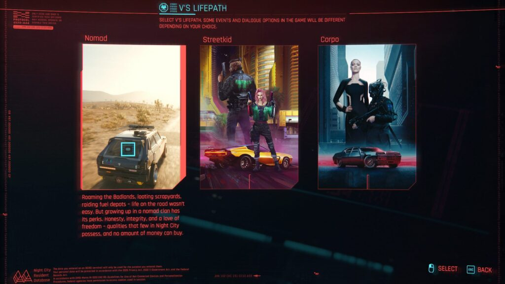 Cyberpunk 2077 Nomad Life Path
