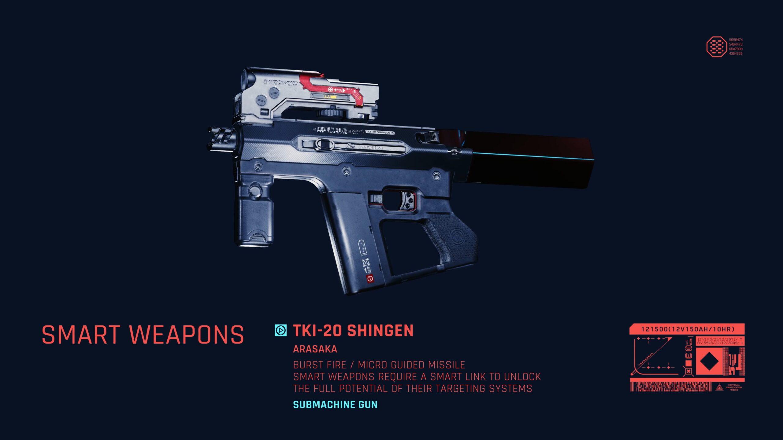 Cyberpunk 2077 Ranged Weapons Tki 20 Shingen Submachine Gun