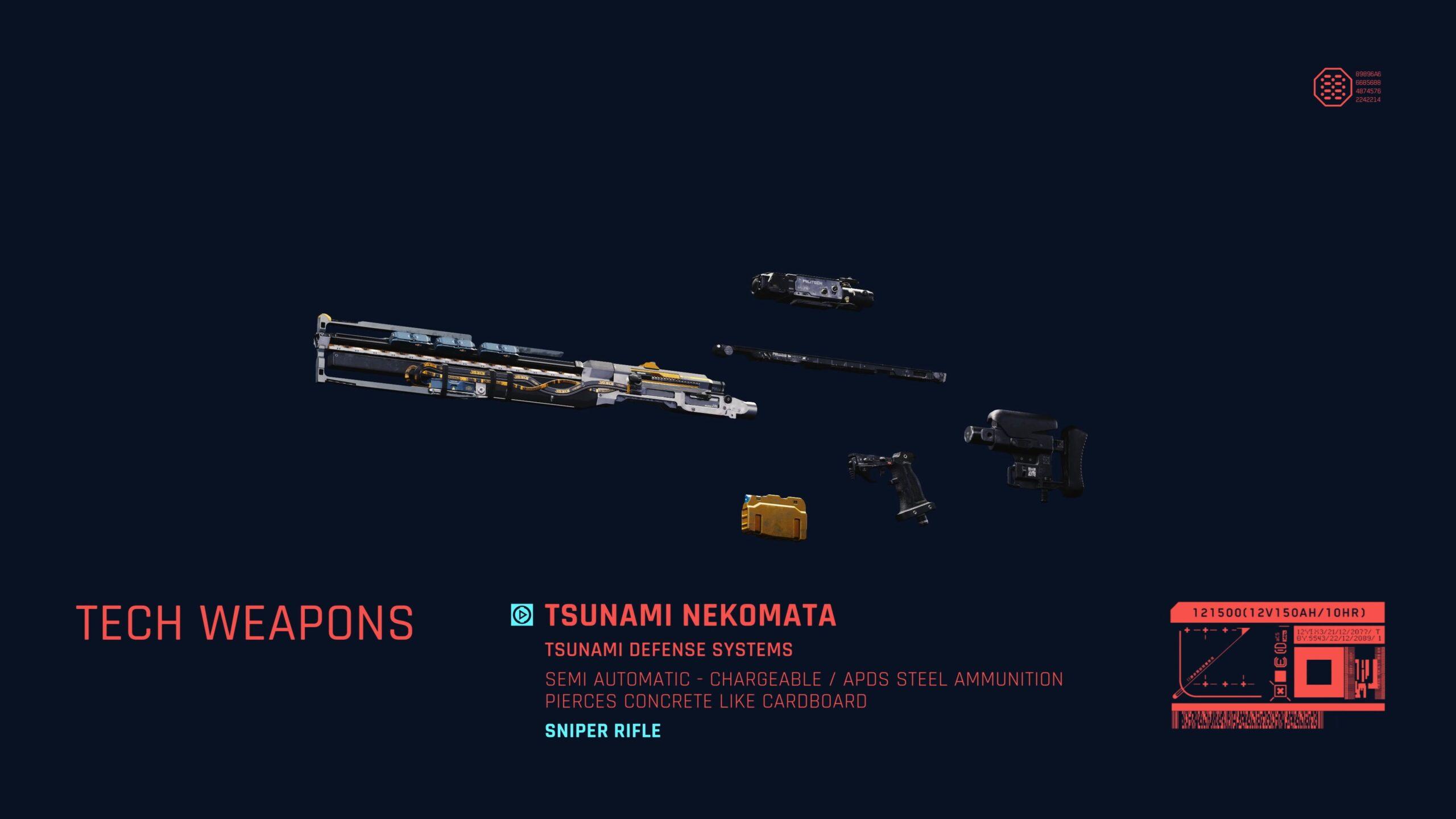 Cyberpunk 2077 Ranged Weapons Tsunami Nekomata Sniper Rifle