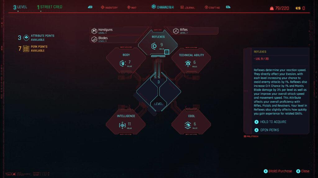 Cyberpunk 2077 Skills Guide Interface