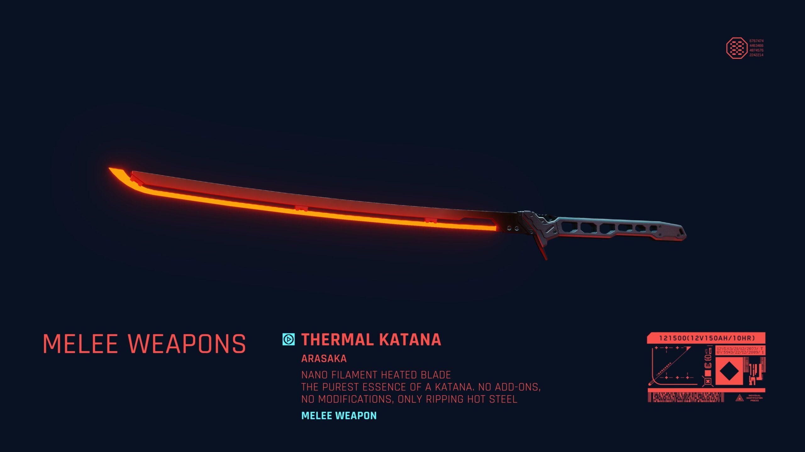 Cyberpunk 2077 Thermal Katana Blade Melee Weapon