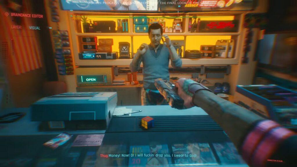 Cyberpunk 2077 Thug Braindance Footage Robbing Convenience Store