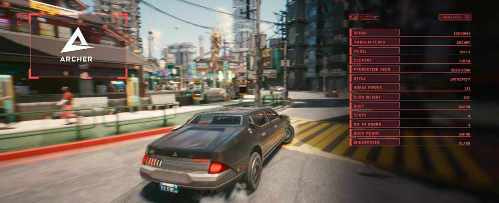 Cyberpunk 2077 Vehicles Guide Economy Tier Hella Archer