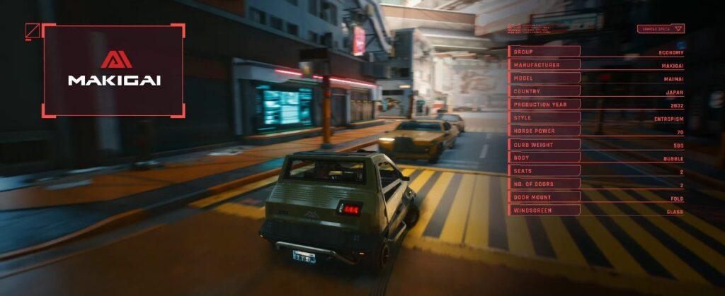 Cyberpunk 2077 Vehicles Guide Economy Tier Maimai Makigai 3