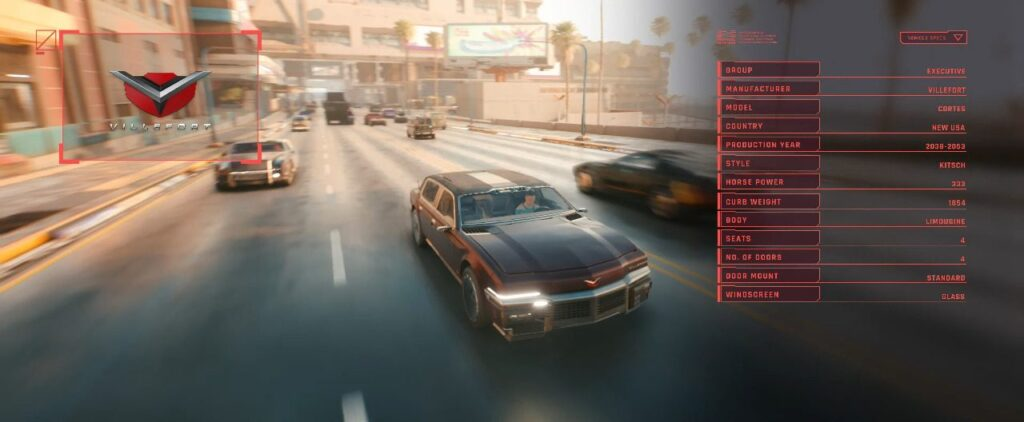 Cyberpunk 2077 Vehicles Guide Executive Tier Cortes Villefort