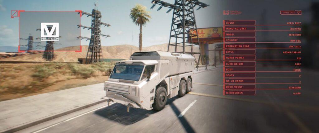Cyberpunk 2077 Vehicles Guide Heavy Duty Tier Behemoth Militech