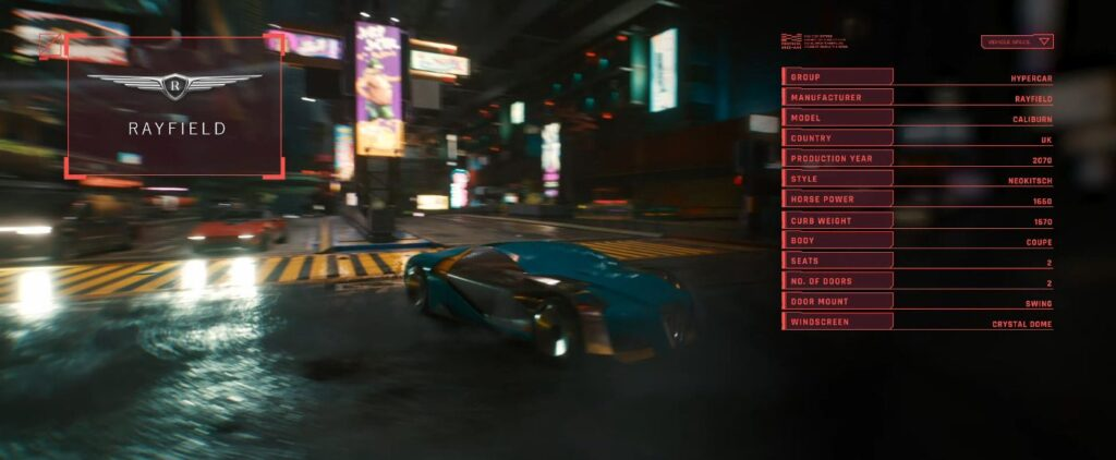 Cyberpunk 2077 Vehicles Guide Hypercars Tier Caliburn Rayfield