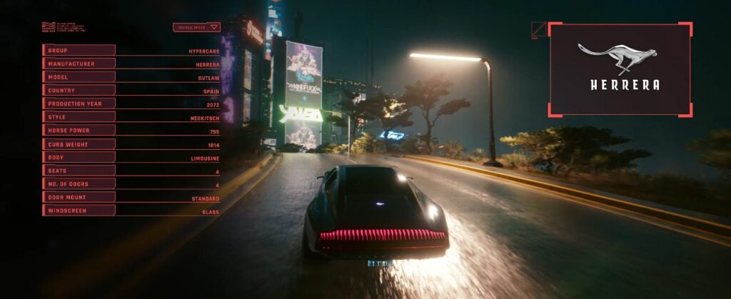 Cyberpunk 2077 Vehicles Guide Hypercars Tier Outlaw Herrera