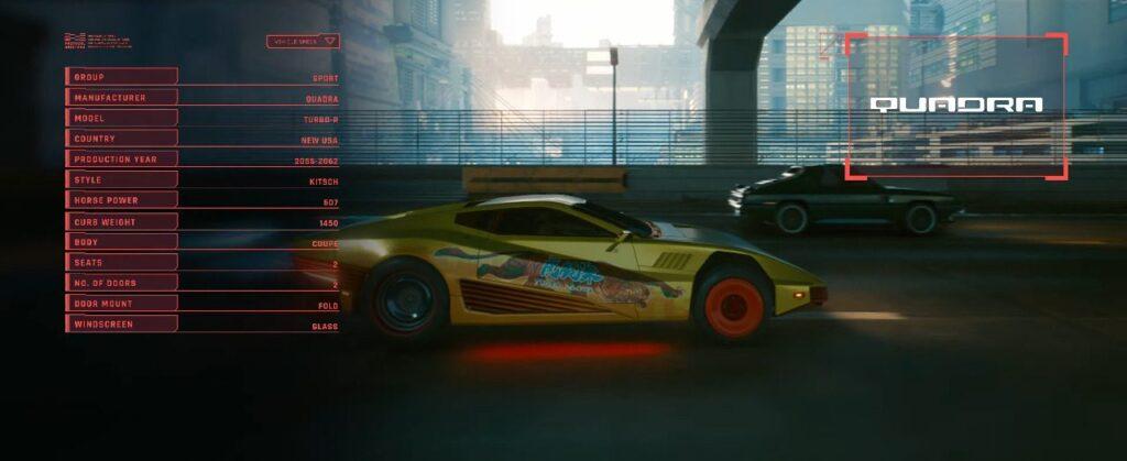 Cyberpunk 2077 Vehicles Guide Sport Tier Quadra Turbo R