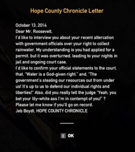 Far Cry 5 Hope County Chronicle Letter