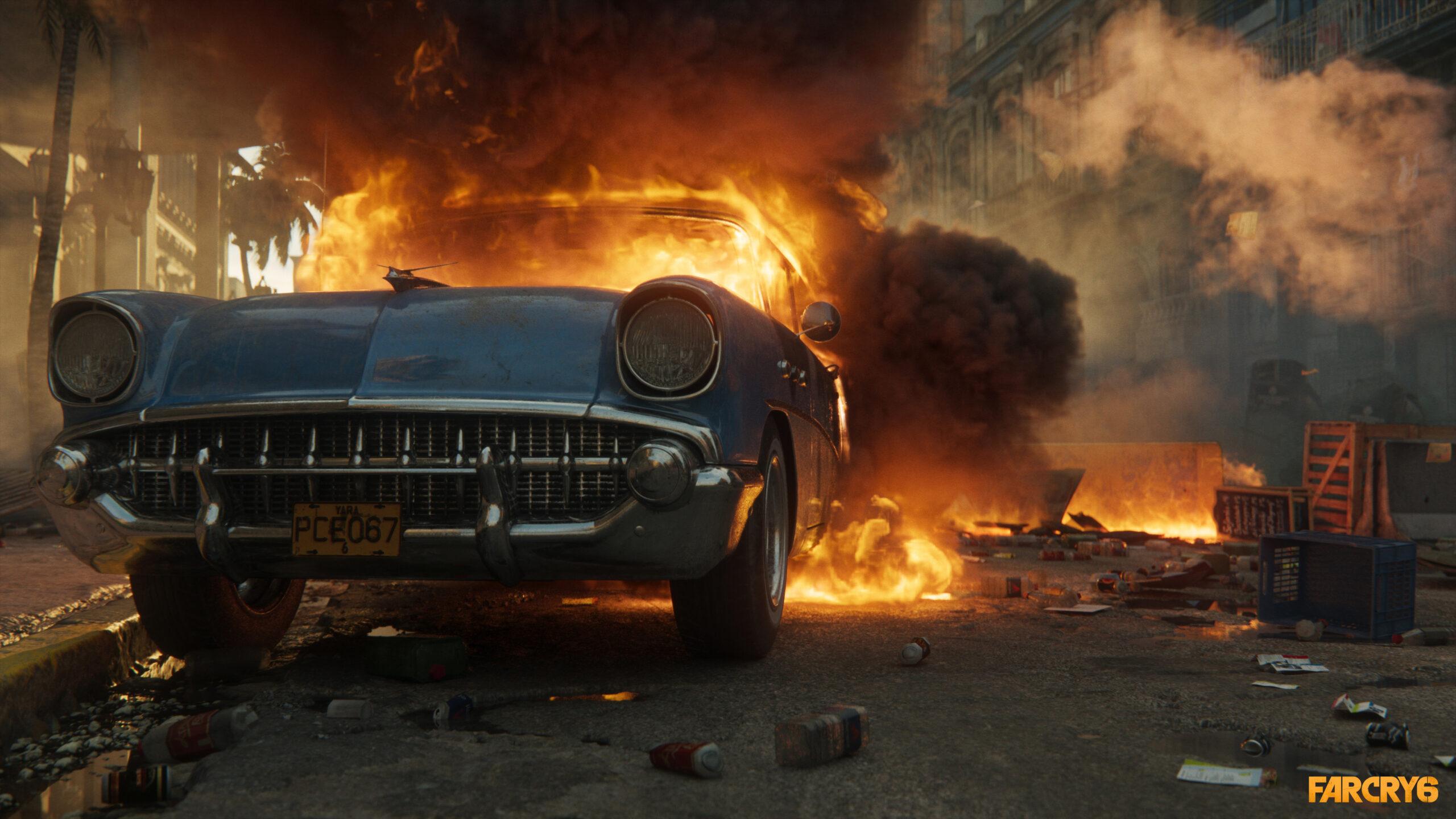 Far Cry 6 Burning Car Screenshot