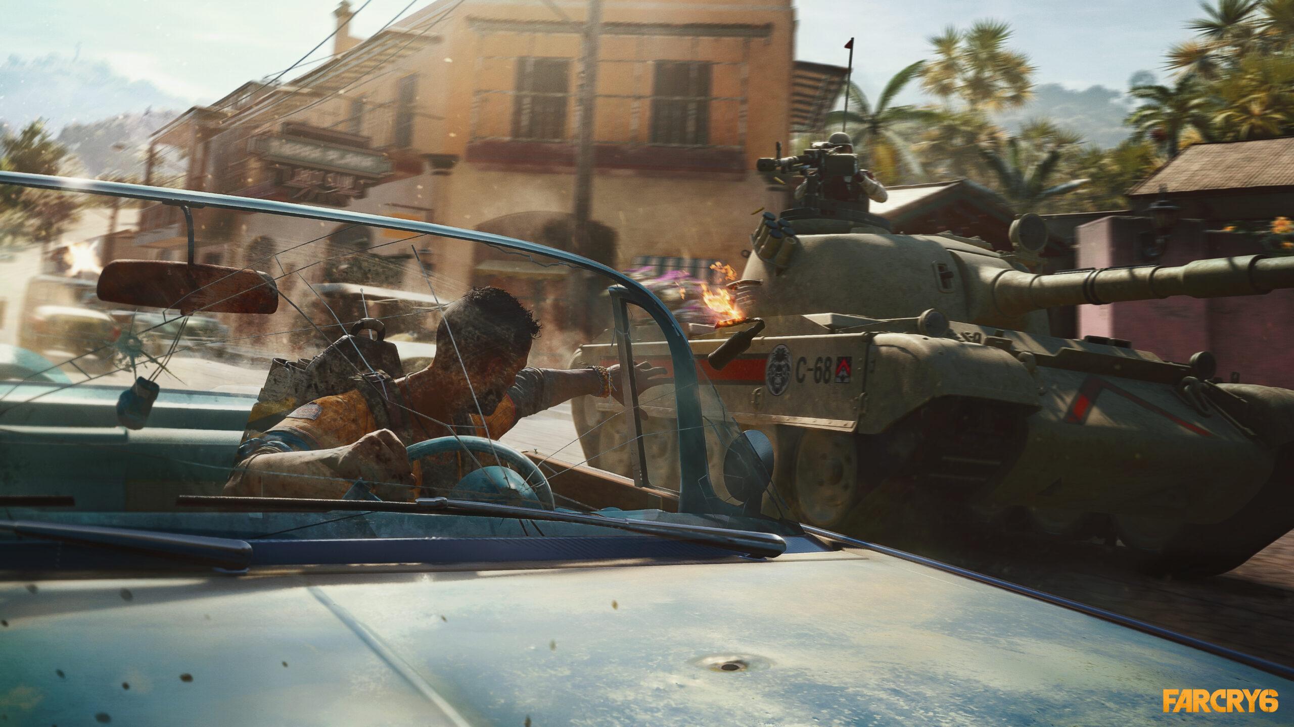 Far Cry 6 Throwing Molitov At Tank Screenshot