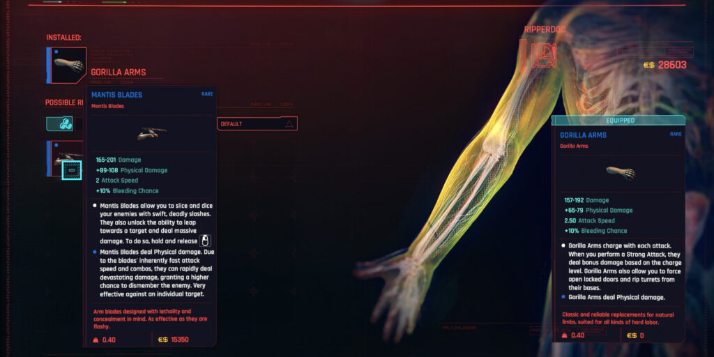 Cyberpunk 2077 Cyberware Guide Arms