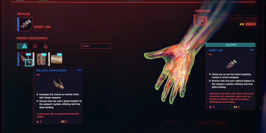 Cyberpunk 2077 Cyberware Guide Hands