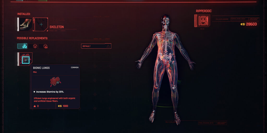 Cyberpunk 2077 Cyberware Guide Skeleton