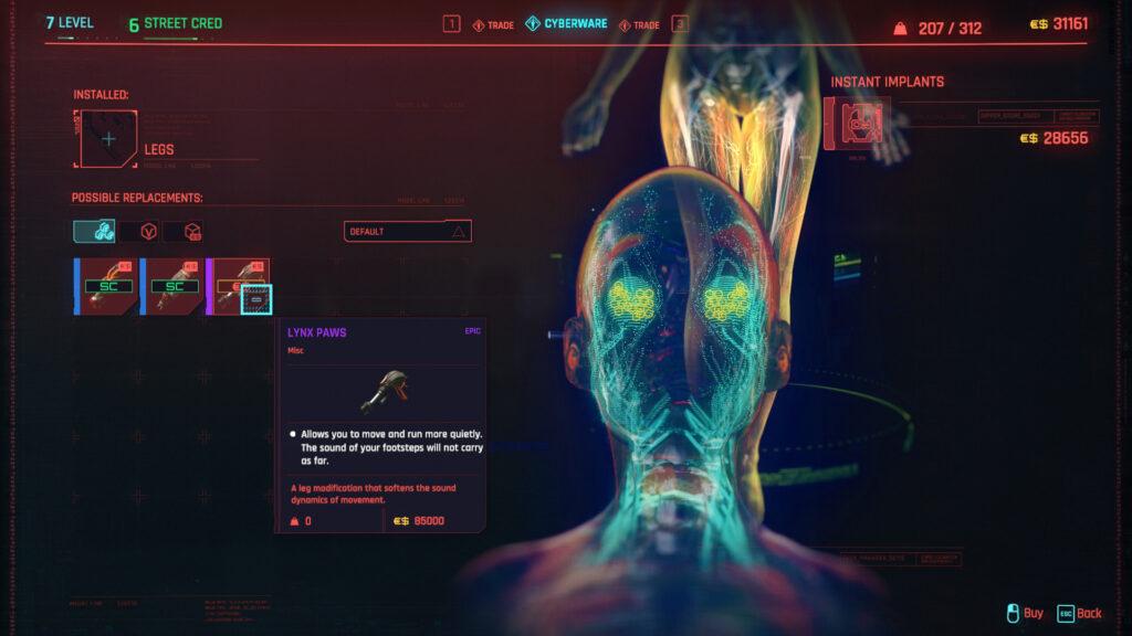 Cyberpunk 2077 Cyberware Implants Guide Legs
