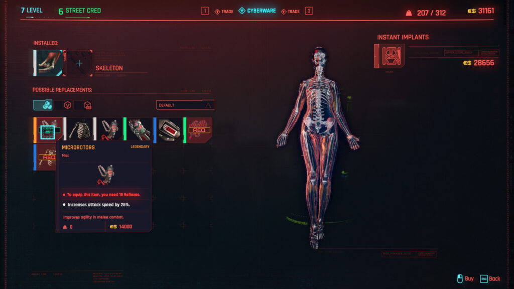 Cyberpunk 2077 Cyberware Implants Guide Skeleton