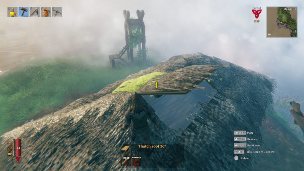 valheim how to build a roof easy roof method chimmney