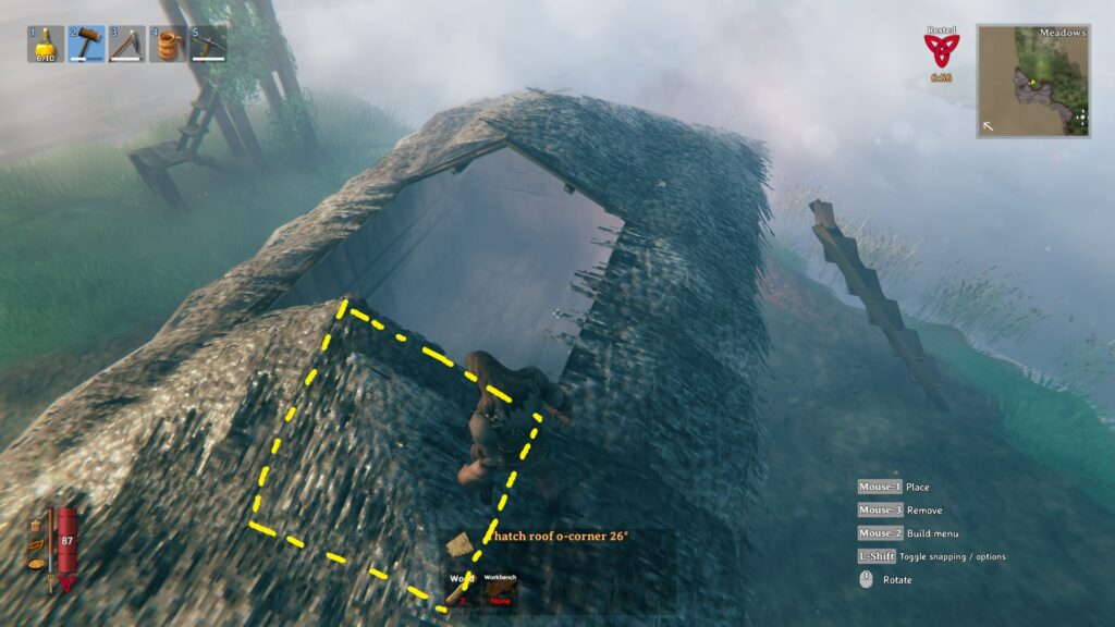valheim how to build a roof easy roof method corner peices 2