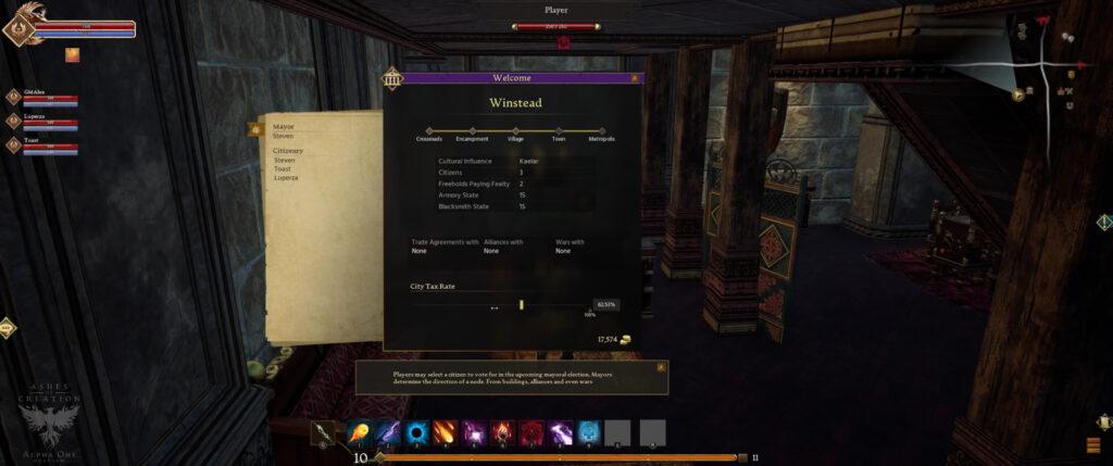 ashes of creation pre alpha 4k footage settlement node mayor dashboard