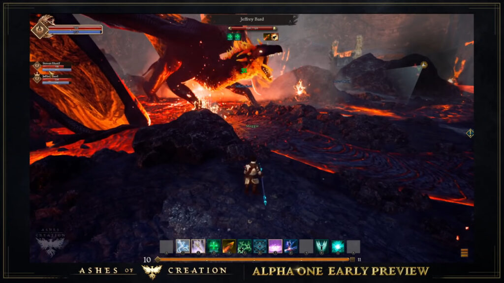 ashes of creation pre alpha footage fighting lava dragon