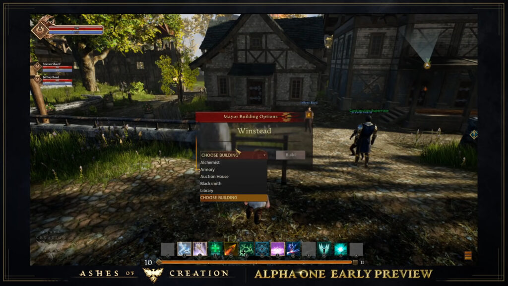 ashes of creation pre alpha footage list of city buildings available to build