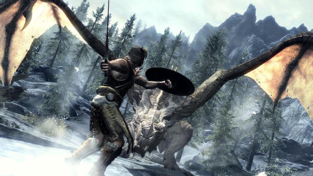skyrim races dragon fight 1