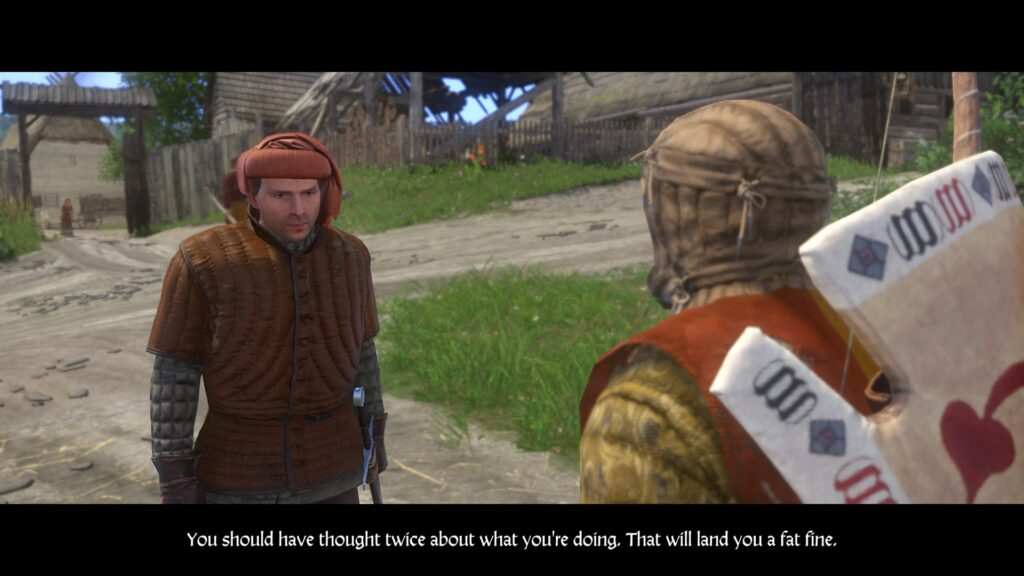 Guard approaching henry after he stole something