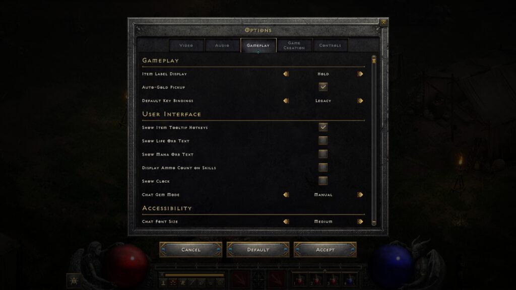 diablo ii technical alpha changes options ui