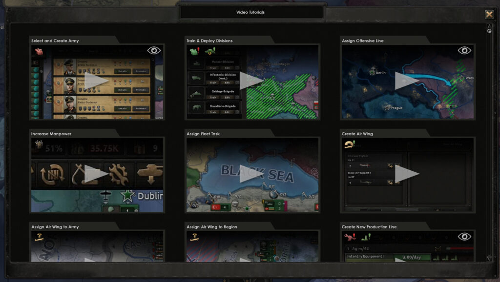 List of available tutorial videos released in Hearts of Iron IV Patch 1.10