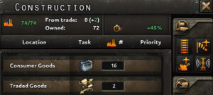 The top of the construction menu in Hearts of Iron IV.