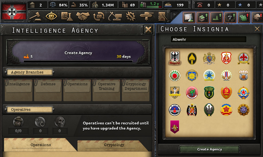 The Intelligence Agency Screen in Hearts of Iron IV.