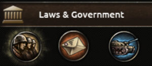 The panel where laws are in Hearts of Iron IV.