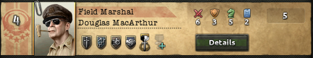 General MacArthur and his skills in Hearts of Iron 4