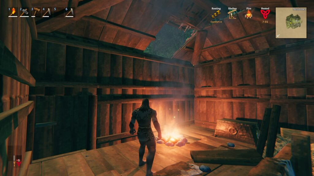 how to put campfire indoors valheim guide