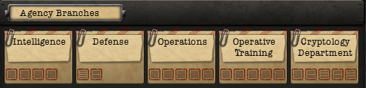 Different upgrade branches for intelligence agencies in Hearts of Iron IV.