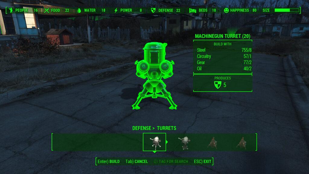 fallout 4 settlement defense turret construction materials